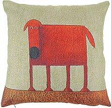 Weihnachten Sofa Deko Leinen Kissenhülle Zierkissenbezug Geschenkidee, Tiere Muster, Grundfarbe Beige (Hund kunstlich)