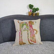 Weihnachten Sofa Deko Leinen Kissenhülle Zierkissenbezug Geschenkidee, Tiere Muster, Grundfarbe Beige (bunter Hund)