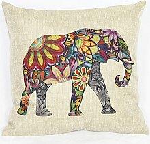 Weihnachten Sofa Deko Leinen Kissenhülle Zierkissenbezug Geschenkidee, viele Muster, Grundfarbe Beige (Elefant)