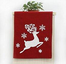 Weihnachten Tischläufer in Leinen bestickt mit