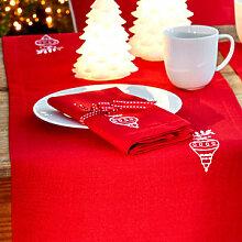 Weihnachtlich bestickte Servietten mit Glanzeffekt