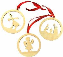 Weihnachtliche Dekoration im 3er Set: Engerl, Krippe und Elch
