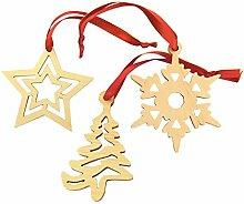 Weihnachtliche Dekoration im 3er Set: Weihnachtsbaum, Stern und Schneeflocke
