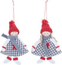 Weihnachtliche Hängedeko Figuren, blau und rot