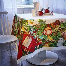 Weihnachtliche Leinen-Tischwäsche versprüht