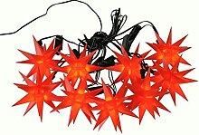 Weihnachtliche Lichterkette für den Außenbereich - LED Lichterkette mit 9 Roten Sternen - Länge 13m - Sternenlichterkette zur Dekoration für den Tannenbaum