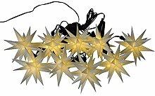 Weihnachtliche Lichterkette für den Außenbereich - LED Lichterkette mit 9 Weißen Sternen - Länge 13m - Sternenlichterkette zur Dekoration für den Tannenbaum