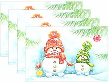 Weihnachtliche niedliche Schneemänner Tischmatten
