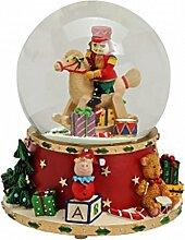 Weihnachtliche Spieluhr Schneekugel Schaukelpferd