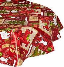 Weihnachtliche Tischdecke mit Flanell-Rückseite