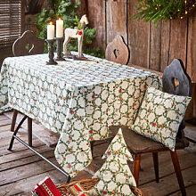 Weihnachtliche Tischdecke mit kleinen, verzierten