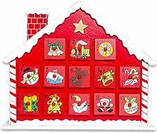 Weihnachtlicher Countdown-Adventskalender aus Holz