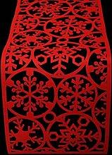 Weihnachtlicher roter Filz-Tischläufer mit Schneeflocken-Design, 120x 30cm