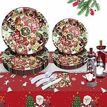 Weihnachtliches Einweggeschirr-Set aus Pappteller,