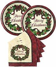 Weihnachtliches Einweggeschirr-Set aus Papptellern
