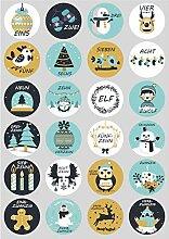 Weihnachts-Adventskalender Set aus Sackleinen,