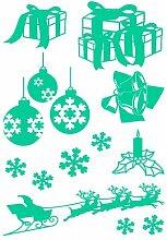 Weihnachts Aufkleber Creativ-Set Autoaufkleber in 6 Größen und 25 Farben (42x60cm türkis)