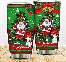 Weihnachts-Becher aus Edelstahl mit Schneemann,