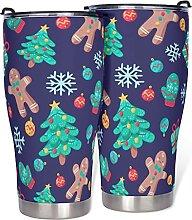 Weihnachts-Becher, doppelwandig, mit Deckel, aus