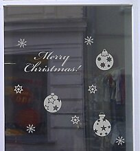 Weihnachts Deko Aufkleber Eleganz Schaufenster Beschriftung Laden Hellgrau