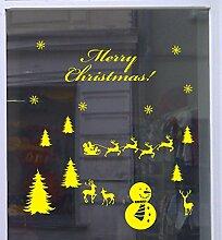 Weihnachts Deko Aufkleber Winterlandschaft Schaufenster Beschriftung Laden Gelb