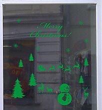 Weihnachts Deko Aufkleber Winterlandschaft Schaufenster Beschriftung Laden Grün