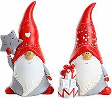 Weihnachts Deko Figuren Lustiger Gartenzwerg 2 Stück – 20cm Hoch
