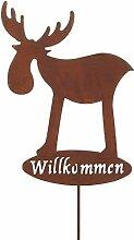 Weihnachts-Deko stimmungsvoller Garten-Stecker Deko-Stecker Elch Rudolph Rentier Willkommen Metall rostig