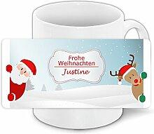 Weihnachts-Tasse mit Namen Justine und schönem