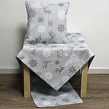 Weihnachts Tischdecke Mitteldecke Belle grau weiß