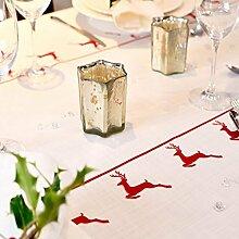 Weihnachts-tischdecke - Vintage Roter Hirsch Entworfener, Bedruckt & handgefertigt in Großbritannien - Rot, 2.9m length