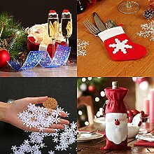 Weihnachts Tischdekoration Sets, Weihnachtsdeko für Gläser Weihnachtsmannmützen x 10 + Weihnachten Besteckhalter Halter Taschen x 8 +Schneeflocke Konfetti für Weihnachten x 1 + Weinflasche Taschen x 2