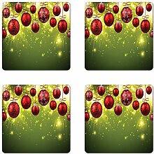 Weihnachts-Untersetzer, 4er-Set, lebendige Farben,