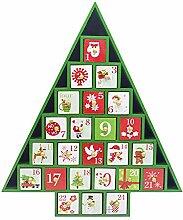 Weihnachtsbaum Countdown Adventskalender aus Holz,