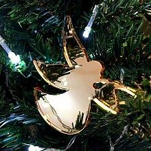 Weihnachtsbaum Dekoration–sbandierando Engel–Gold mit Spiegel–Pack von zehn