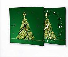 Weihnachtsbaum Gold - Lautlose Wanduhr mit Fotodruck auf Leinwand Keilrahmen | geräuschlos kein Ticken Fotouhr Bilderuhr Motivuhr Küchenuhr modern hochwertig Quarz | Variante:30 cm x 30 cm mit weißen Zeigern - GERÄUSCHLOS