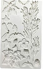 Weihnachtsbaum Poinsettia Silikonform Fondant
