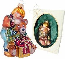 Weihnachtsbaumfigur Kinder mit Bär