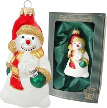 Weihnachtsbaumfigur Schneemann mit Schneeball