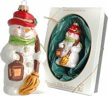 Weihnachtsbaumfiguren Schneemann mit Besen und