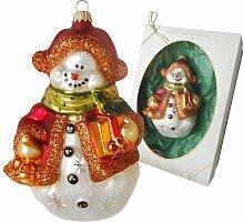 Weihnachtsbaumfiguren Schneemann mit Geschenken