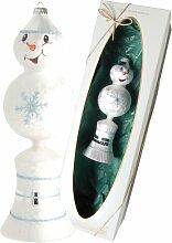 Weihnachtsbaumfiguren Schneemann mit Glocke Die