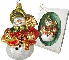 Weihnachtsbaumfiguren Schneemann mit Vögelhaus