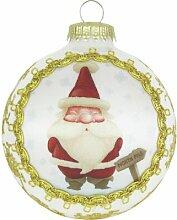 Weihnachtsbaumkugeln Seidenbildkugel mit Santa Am