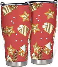 Weihnachtsbecher mit Deckel, doppelwandig,