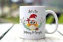 Weihnachtsbecher Niedliche Eulen-Kaffeetasse Frohe