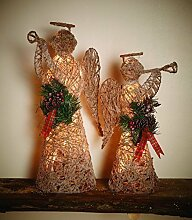 Weihnachtsdeko Engel Deko Figur Weihnachten Rattan Metall | Weihnachtsbeleuchtung mit LED warmweiß und Timer- wunderschöne beleuchtete Weihnachtsdeko - Motiv Engel Größe L - 34 x 20 x 50 cm -