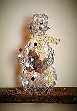 Weihnachtsdeko Fenster beleuchtet Deko Figur Weihnachten Schneemann Figur Glitter Silber Rattan Weihnachtsdeko mit 20 LED Timer warmweiß