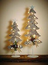 Weihnachtsdeko Fenster beleuchtet Silberner Rattan