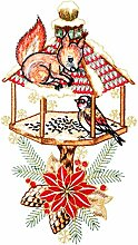 Weihnachtsdeko Fensterbild Eichhörnchen mit Vogelhaus